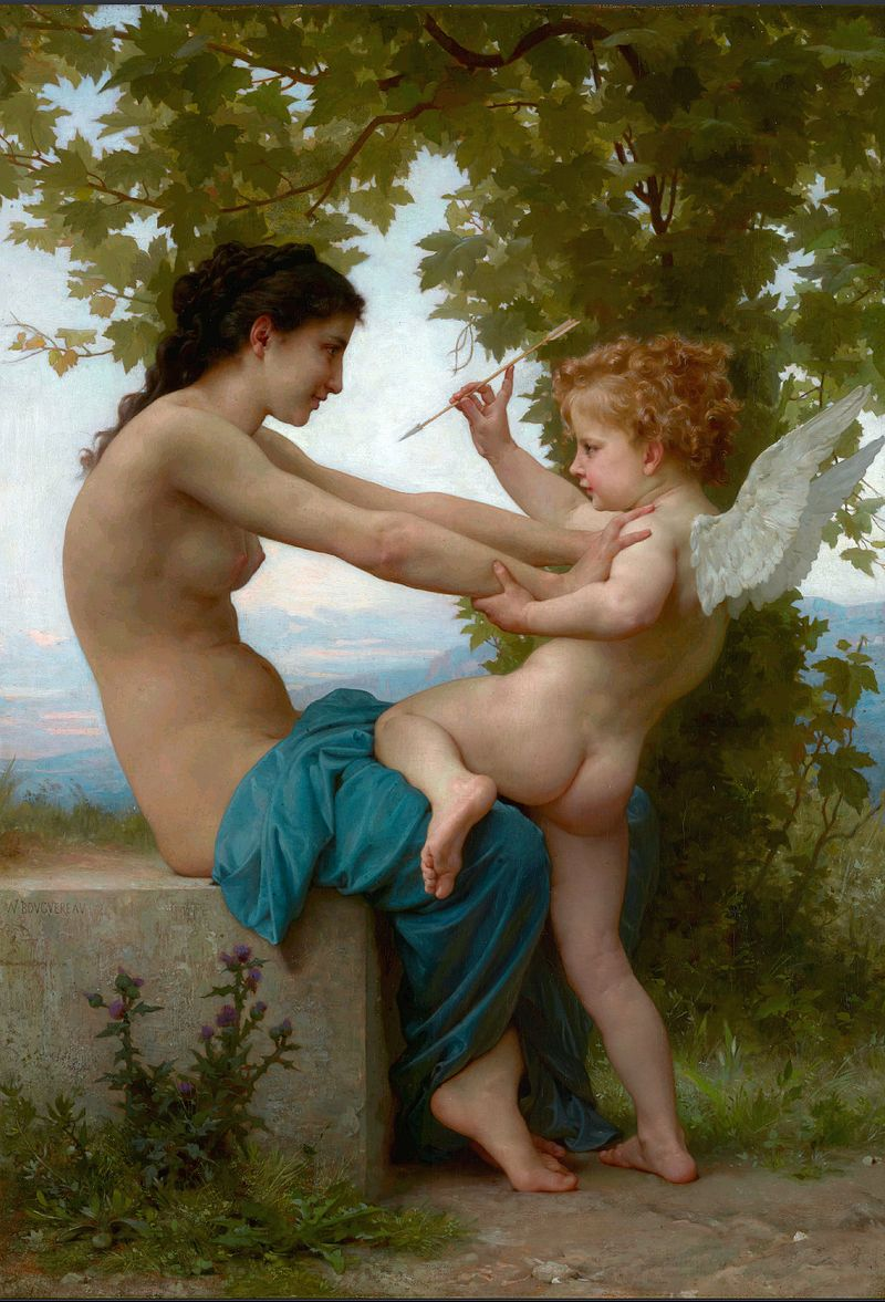 "William-Adolphe Bouguereau ""A Young Girl Defending Herself Against Eros"" (1880)"