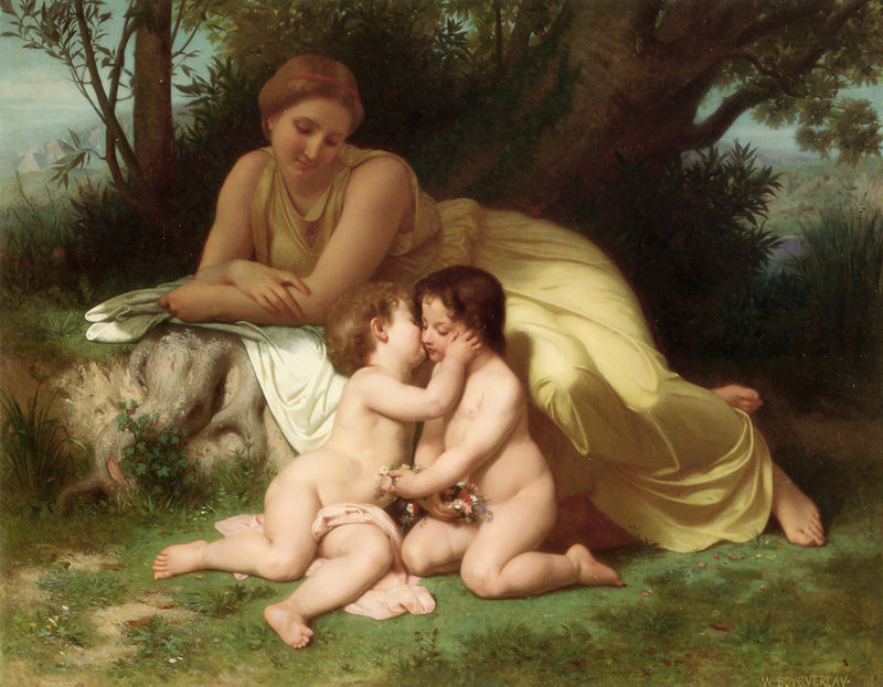 "William-Adolphe Bouguereau ""Young Woman Contemplating Two Embracing Children"" (1861)"