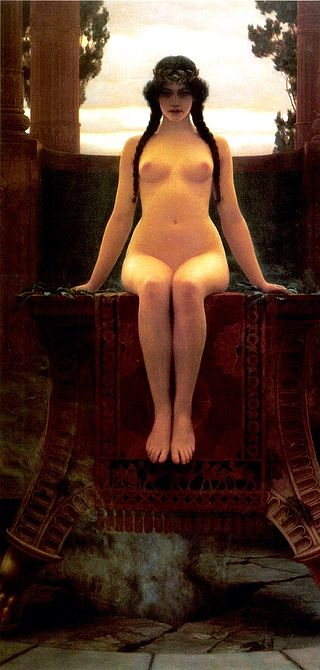 "John William Godward ""L'Oracle de Delphes"" (1899)"
