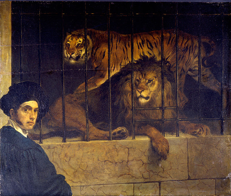 "Francesco Hayez ""Self-portrait with Tiger and Lion"""
