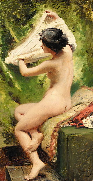 "Konstantin Makovsky ""Beauty Preparing to Bathe"""