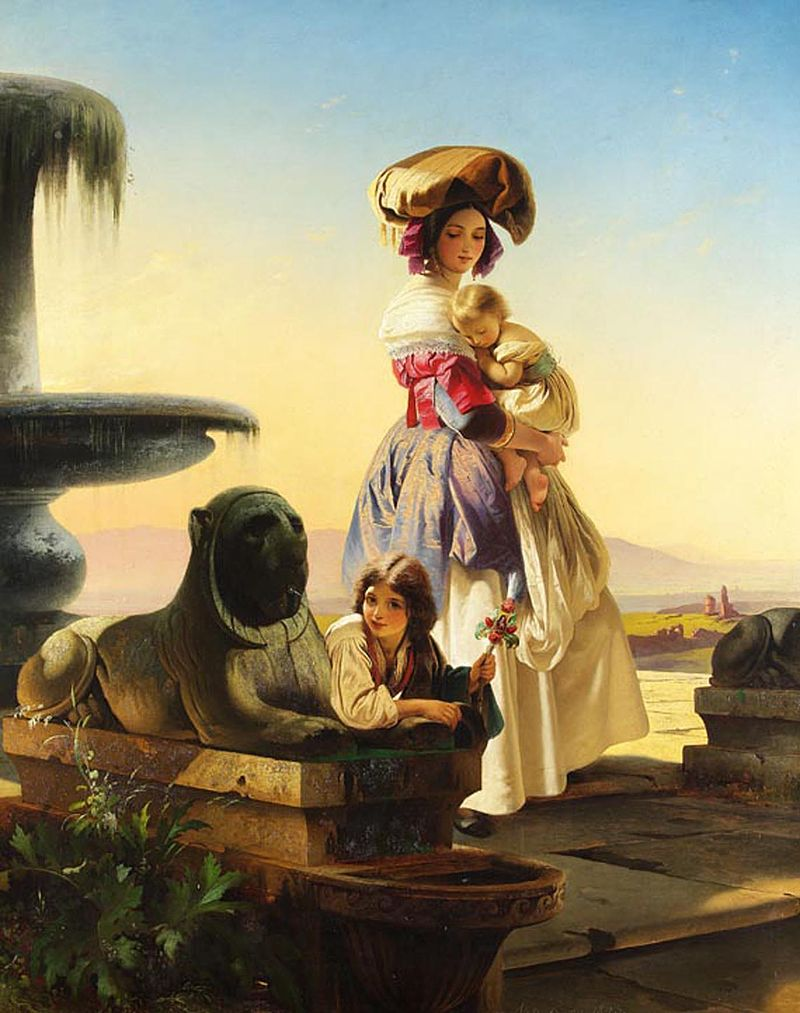 "Carl Timoleon von Neff ""Italian Woman with Children on the Stairs"""